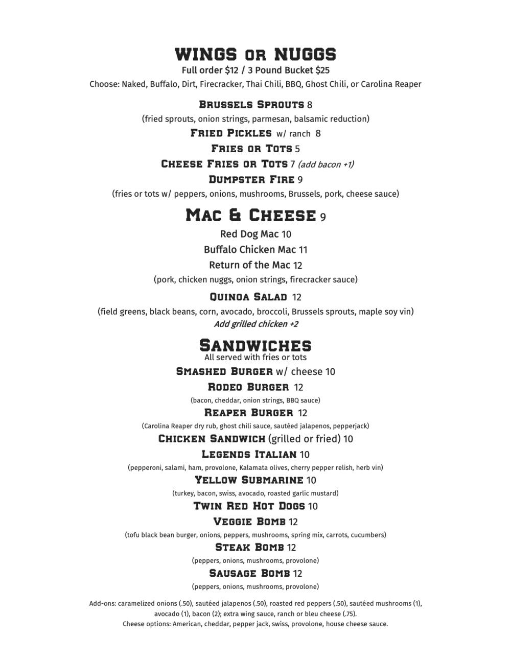 LEGENDS releaunch menu